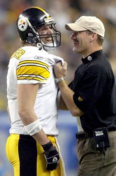 Lake Fong/Post-GazettePittsburgh Steelers Ben Roethlisberger shares a moment with head coach Bill Cowher in the closing seconds. Steelers defeat Seattle Seahawks 21-10 in the  Super Bowl XL at Ford Field in Detroit on Sunday, January 5, 2006.