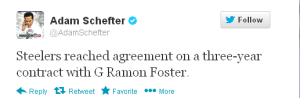 Adam Schefter reports Steelers and G Ramon Foster agree on 3-year extension