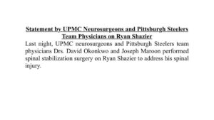 Shazier spine stabilization surgery